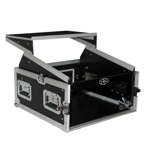 ProX Cases T-4MRLT 4 Space 10U Top Load Slant DJ Mixer Road Gig Ready Flight Combo Rack w/Gliding Laptop ()