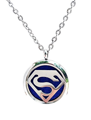 FIKA Superman Superhero Aromatherapy Essential Oils Necklace Pendant Air Freshener Locket Pads included