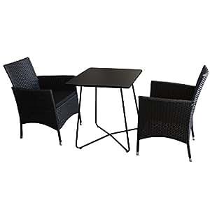 3piezas. Bistro–Juego de muebles de Bistro Mesa, metal, 60x 60cm, negro + 2x–Sillón apilable Incluye Cojín–Muebles de Jardín Camping Muebles Jardín Silla apilable silla de jardín silla silla de jardín de ratán