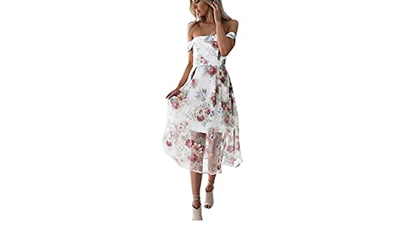❤️Vestido Sexy Un Hombro Mujer, LEORTKS Mujer Sin Mangas Hombro sin Tirantes Moda Vestido Casual Floral Estampada Vestido Elegante Espalda Descubierta Vestido: Amazon.es: Ropa y accesorios