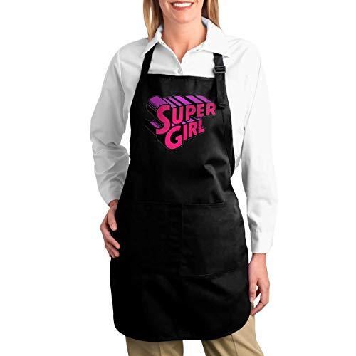 awaneders Kitchen Cotton Apron- Trendy Lettering Super Girl Print Bib Apron