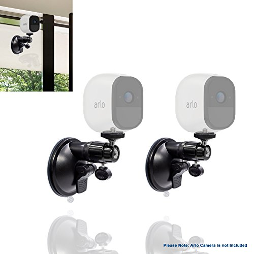 (2pcs) Suction Mount for Arlo HD Pro GO Zmodo Indoor Outdoor Wireless Smart Security Cameras Add on with 1 4 Inch Screw 360 Degree Rotation Fully Adjustable Mount By Sully