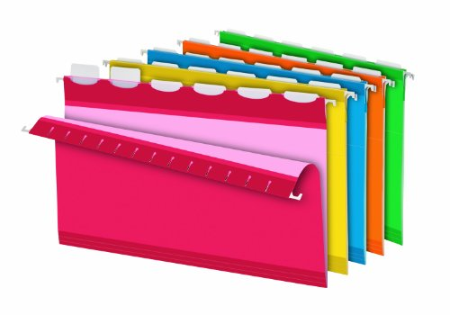 Pendaflex Ready-Tab Reinforced Hanging Folders with Lift Tab Technology, Legal Size, 6-Tab, Assorted Colors, 25 Total Folders per Box (42593)
