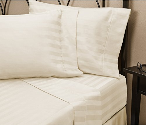 Hotel Luxury STRIPED Bed Sheets Set-SALE TODAY ONLY! On Amazon-Top Quality Bedding 1800 Series Platinum Collection-100%!Deep Pocket, Wrinkle & Fade Resistant(King,Cream)