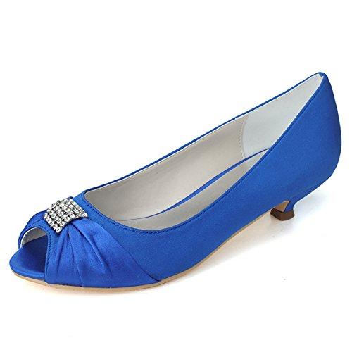 Qingchunhuangtang @ Bruiloft Schoenen En Schoenen, Lage Hak Schoenen Partij Bruidsmeisje Banket Schoenen Blauw
