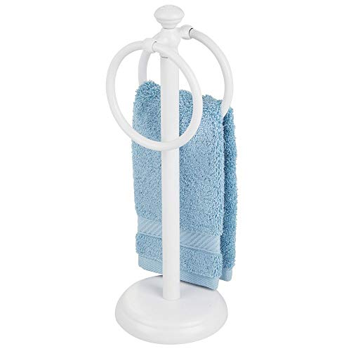 """mDesign Decorative Metal Fingertip Towel Holder Stand for Bathroom Vanity Countertops to Display and Store Small Guest Towels or Washcloths - 2 Hanging Rings, 14.25"""" High - White"""