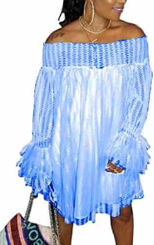 0898a95786 HTOOHTOOH Womens Dresses Summer Floral Long-Sleeve Off Shoulder Mini Dresses