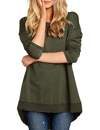 Pleated Jumper Low (Blooming Jelly Women's Long Sleeve Crewneck Sweatshirt Loose Fit Hi Low Top Pleated Baggy Shirt(S, Green))