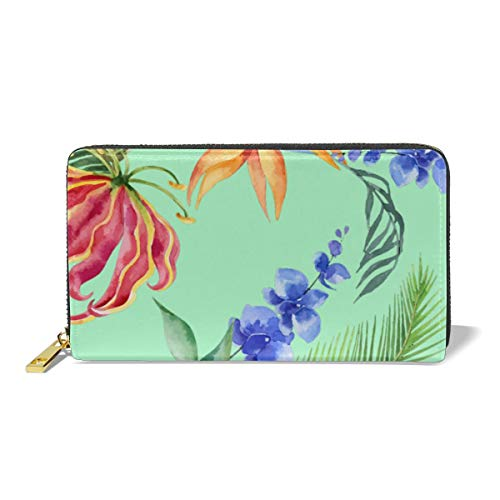 Women Leather Wallet Zipper Around Clutch Purse Waterproof Card Holder Slim Handbag - Tropical Leaf