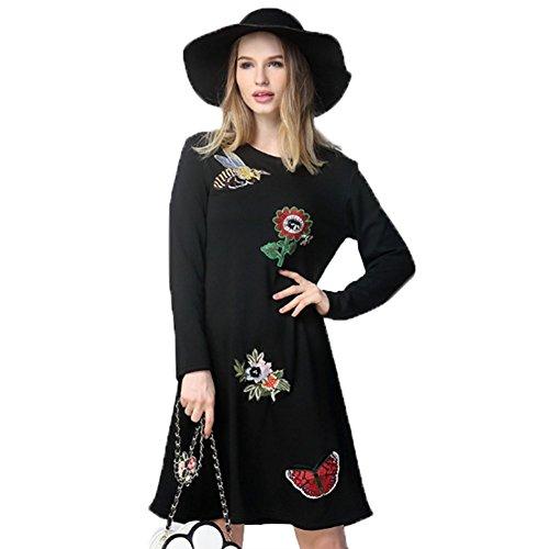 Noir Fille Ohmais Robe Et Large Grande Confort Chaud Taille Femme zwgTw4qF