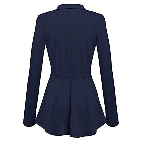 Outwear Giacca Casual A Blazer Arricciature Maniche Blu Con Lunghe Coat Donna Jacket Moda Peplum Alla Da Button 4ZqBf