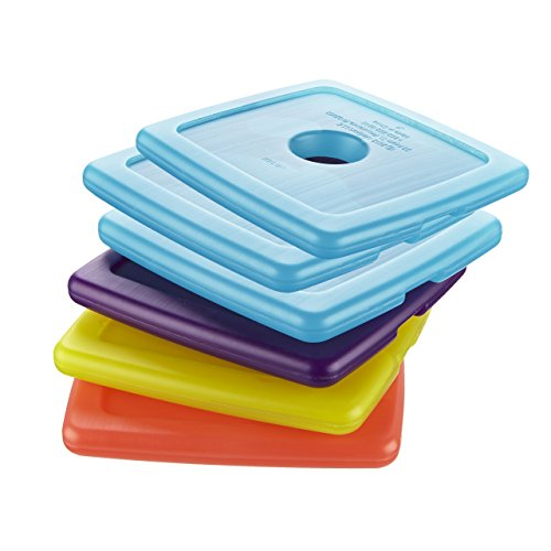 Fit & Fresh Cool Coolers Slim Reusable Ice Packs for Lunch Boxes, Lunch Bags and Coolers, Set of 6, Multicolored