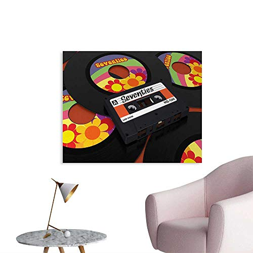 70s Party Poster Paper Compact Cassette Player and Some Vinyl Records with Seventies Text Oldschool Art Stickers Multicolor W48 xL32 ()