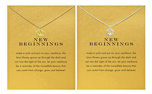 BECEDE Friendship Butterfly Compass Necklace Good Luck Elephant Horseshoe Lotus Pendant Chain Necklace with Message Card Gift Card (Lotus Gold&Silver)