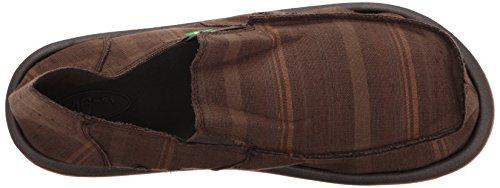 Sanuk Menns Donny Sws Dagdriver Mørk Brun Vintage Denim Stripe