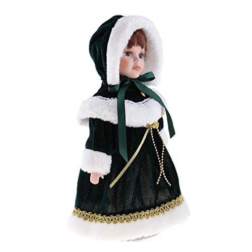 Toygogo Handmade 12inch Victorian Porcelain Doll with Stand, People Figures in Green Plush Clothes Hat, Children Gift, Home Display Decoration