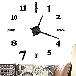 Vangold Large DIY Frameless Wall Clock Modern Mute 3D Wall Clock Mirror Stickers Home Office Decorations Gift (2-Year Warranty)