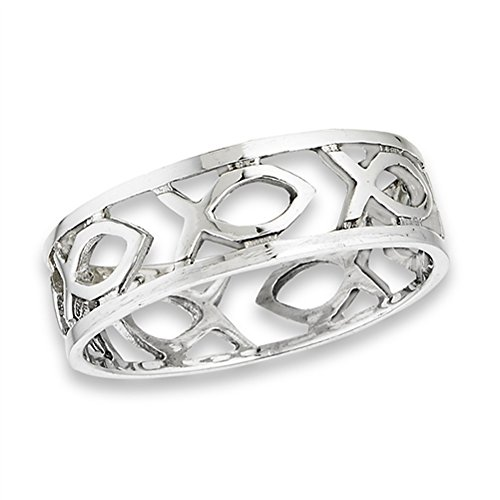Eternity Christian Fish Icthus Wedding Ring .925 Sterling Silver Band Size 6