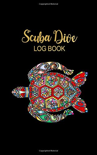 Scuba Dive Log Book: Beautiful Sea Turtle Black & Gold Lettering Men & Women Dive Log Book Pages for Divers ~ Total of 200 Entries, Small Lined Travel Notebook