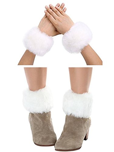 Bhwin Women Faux Fur Wrist Cuffs Warmer Cover And Winter Faux Fur Boot Cuffs Knitting Leg Warmers Set (White)