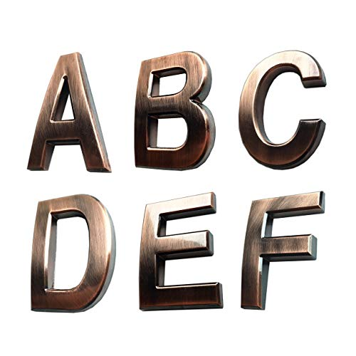 6 Pack Self-Stick Solid Letters Sign Sticker A B C D E F for House Door Address Apartment Craft Bronze 2 inch High