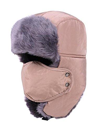 PERSUN Russian Style Winter Fake Fur Aviator Ushanka Hat with Windproof Mask ()