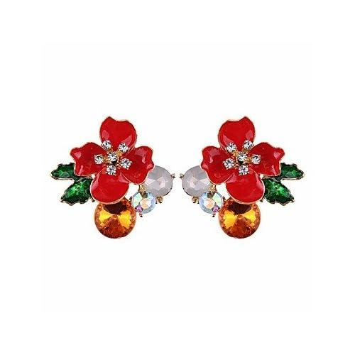 MJW&EH Femme Boucles d'oreille goujon Boucles d'oreille gitane Fleur Elégant Mode Cristal Verre Alliage Fleur Bijoux Quotidien Fête scolaire