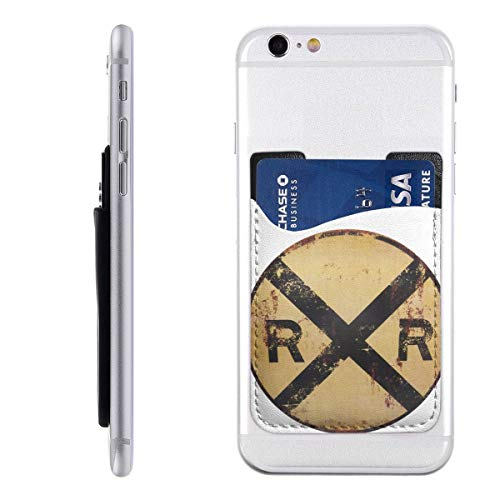 Card Holder for Back of Phone -Railroad Crossing Tin Metal Sign Silicone Stick On Cell Phone Wallet with Pocket for Credit Card, ID, Business Card