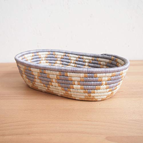 - African Bread Basket- Giti/Sisal and Sweetgrass/Woven Basket/Made in Rwanda/Gray, Tan, White
