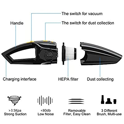 Sensheln Handheld Vacuum Rechargeable 120W Powerful Wet&Dry Portable Cleaner with Long Power Cord for Car (Cigarette Lighter Power): Home & Kitchen
