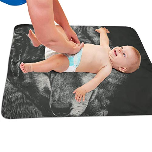 V5DGFJH.B Baby Portable Diaper Changing Pad Wolf Painting Urinary Pad Baby Changing Mat 31.5