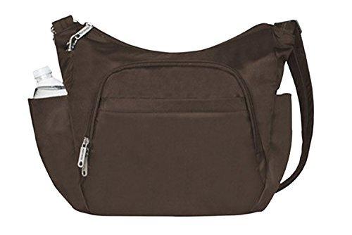 Travelon Anti-Theft Cross-Body Bucket Bag, Chocolate, O