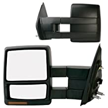 Fit System 61185-86F Ford F-150 Driver/Passenger Side Heated Power Extendable Towing Mirror with Turn Signal and Puddle Lamp, Pair