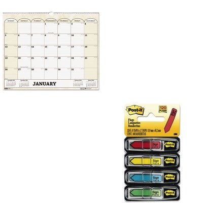 KITHOD319MMM684SH - Value Kit - House Of Doolittle Monthly Horizontal Wall Calendar (HOD319) and Post-it Arrow Message 1/2amp;quot; Flags (MMM684SH)