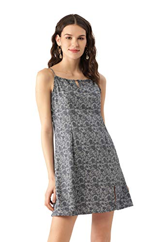 MELOSO Women A-line Grey, Black All Over Print Dress for Party