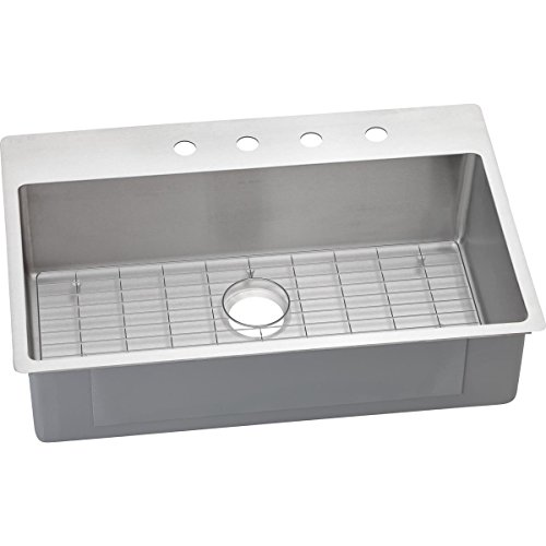 Elkay ECTSRS33229BG3 Crosstown Single Bowl Dual Mount Stainless Steel Kitchen Sink Kit
