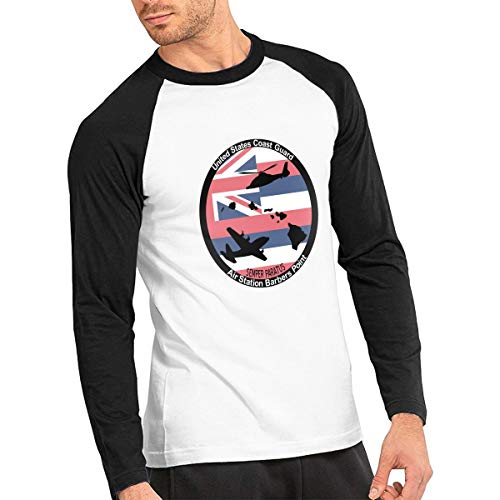 United States Coast Guard Men's Baseball T-Shirt, Casual Athletic Raglan Long-Sleeve Jersey Tees