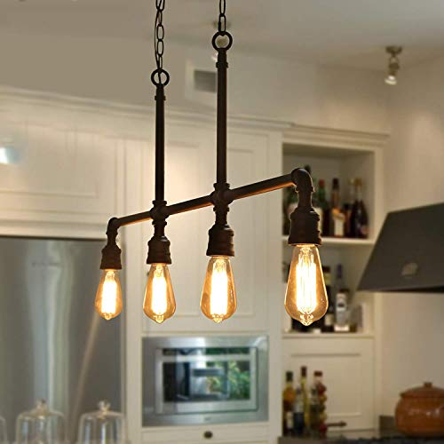 Charmant LOG BARN A03357 Linear Chandelier, 4 Light Kitchen Island Light Fixture Industrial  Pendant Lighting In Hand Polished Black Metal Finish