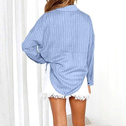 Shirt Coton Chemises T Contracts Sexy Shirt Shirt Mode Bleu V Longue Femme Longues Robe Sweat Blouse Chemise Femmes en Femme Tops Bouton Chic en Col Chemisier Manches Chemisier Stq4C4