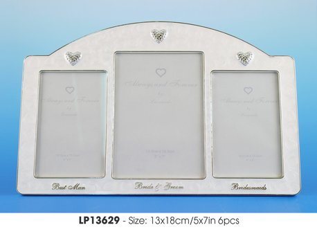 Triple Silverplated & Epoxy Ivory Wedding Frame - Bride & Groom, Bridesmaids, Best Man ()