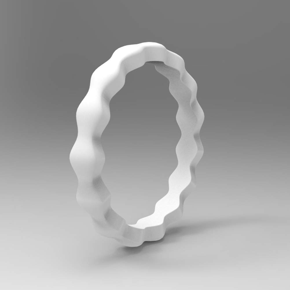 SUPVOX Stackable Silicone Wedding Rings Wave Pattern Wide Rubber Beaded Rings US Size 10 Pcs