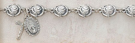Sterling Silver Rose Shaped Catholic 8MM Rosary Bracelet 7 Inch Length Fine Religious Jewelry