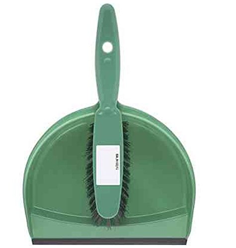 The Hill Brush HN071-G Plastic Dustpan and Brush Set, Green