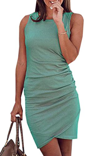 ECOWISH Women's Summer Casual Crew Neck Short Ruched Bodycon Irregular Hem T Shirt Mini Dress 106 Green L (Sleeveless T-shirt Crew)