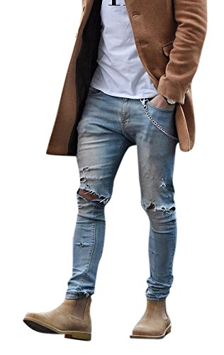 Men's Light Blue Skinny Fit Destroyed Cotton Denim Jeans with Knee Open...