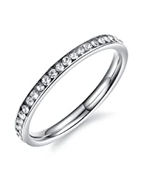 Mintik Jewelry Stainless Steel Womens Girls Ladies Cubic Zirconia Engagement Wedding Eternity Ring