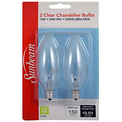 Sunbeam Light Bulb Clear, Chandelier, 25Watts - 2 Bulbs