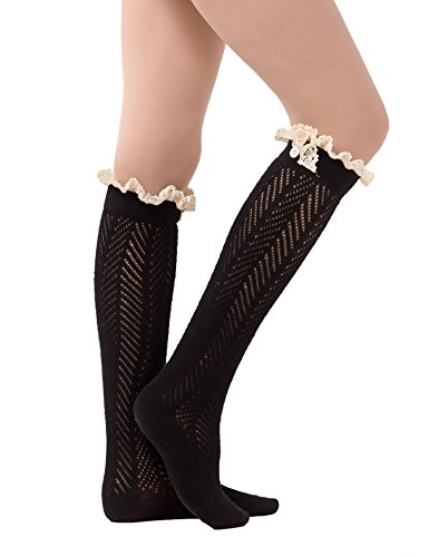 Dimore Over the Knee Antique Crochet Cable Lace and Button Thigh Thin High Boot Socks with Lace Trim Black