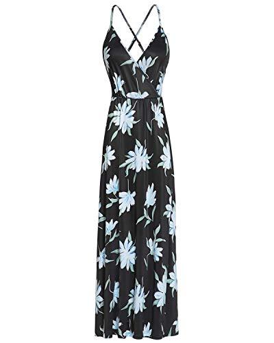 II ININ Women's Deep V-Neck Strap Casual Floral Print Maxi Split Dress(Floral10,XL)