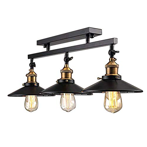 NIUYAO Industrial Vintage 3 Light Semi Flush Mount Ceiling Light Lamp Fixture Island Chandelier Fixture for Home Kitchen Living Room Dining Room